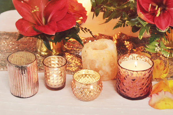 little miss lovely floral design // rental items // rose gold votive holders