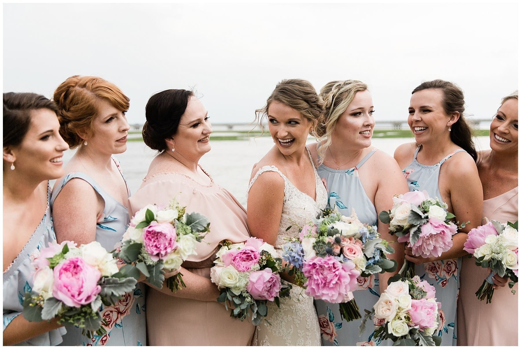 little miss lovely floral design // chicoteague island, va wedding // light pink, dusty blue, ivory wedding flowers