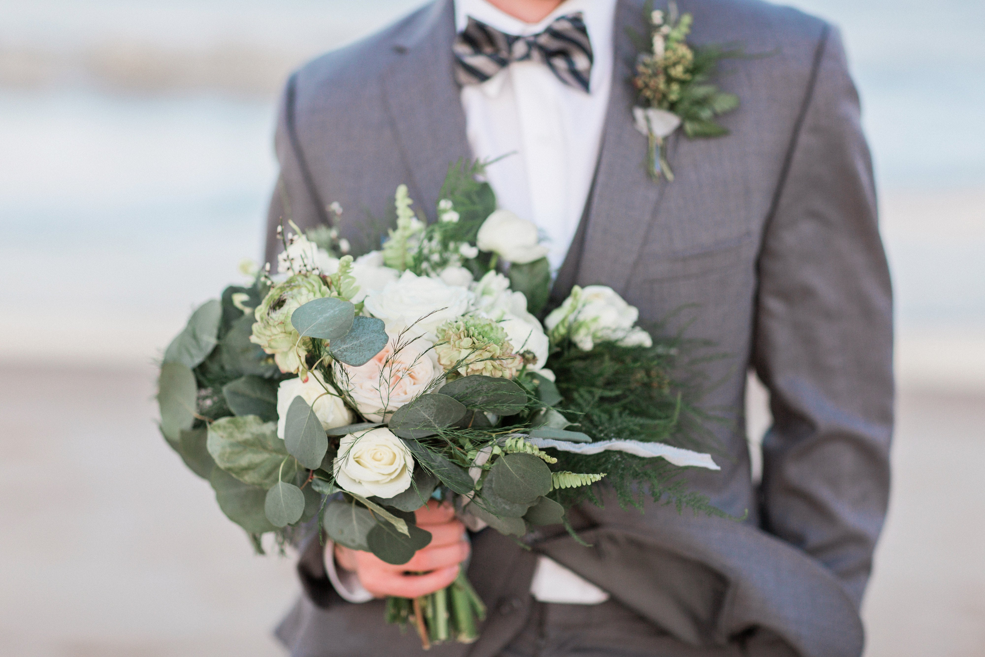 little miss lovely floral design // classic white and green spring beach wedding //  Dyanna LaMora Photography // cape henlopen wedding deleware
