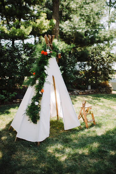little miss lovely floral design // white teepee // ocean city maryland wedding rentals