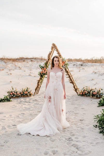 little miss lovely floral design // pampas grass triangle archway // rental archway ocean city maryland
