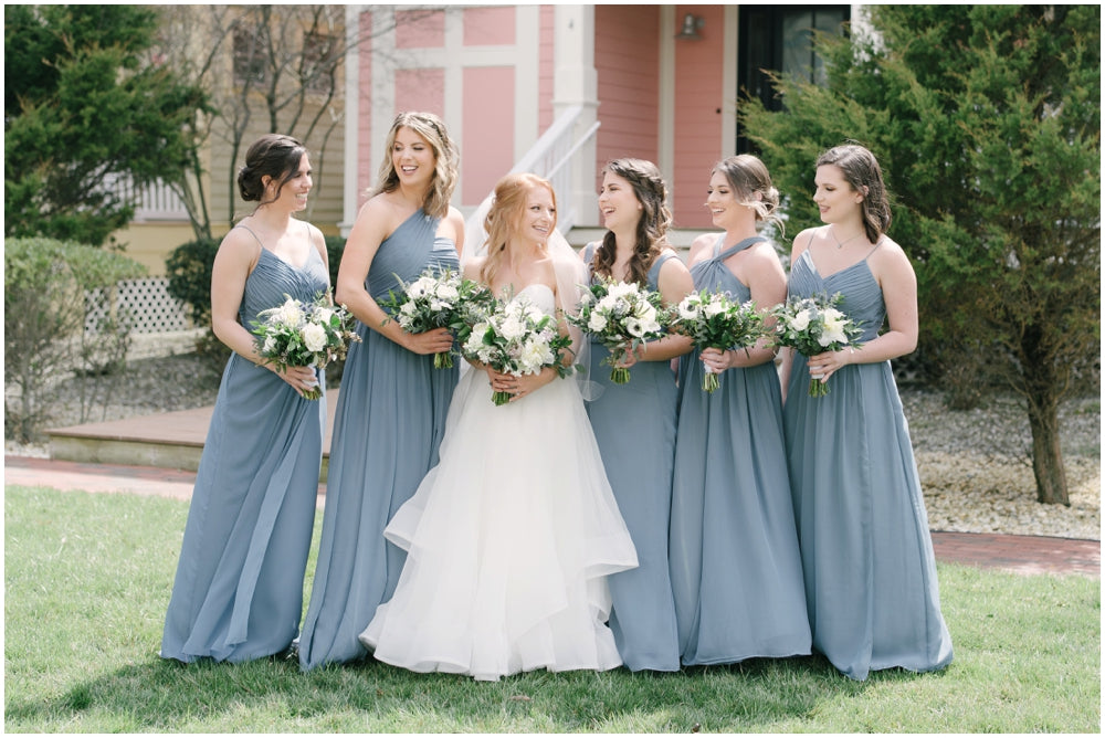 little miss lovely floral design // dusty blue and ivory wedding bouquet centerpieces // lighthouse sound wedding ocean city md