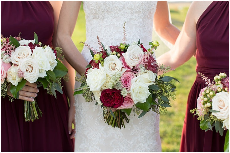little miss lovely floral design // blush pink, burgundy, ivory wedding flowers // lighthouse sound wedding ocean city md