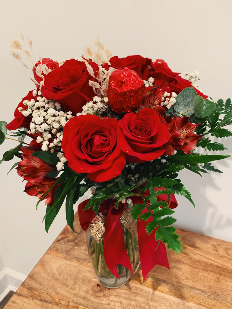 Dozen Roses with Chocolate Roses