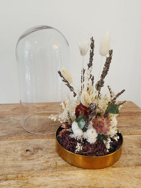 Glass Cloche Dried Floral Arrangement