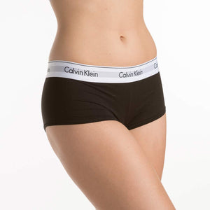 The Calvin Klein F3788 Modern Cotton Boyshort Panty features soft, stretch cotton and elasticized wide waistband with the classic Calvin Klein logo.