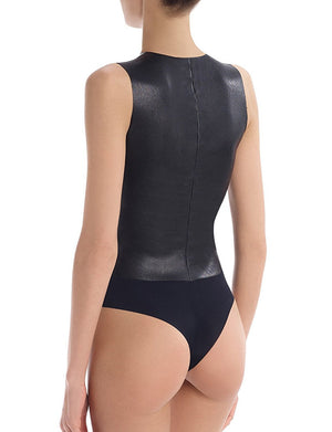 Commando Faux Leather Deep-V Bodysuit BDS014