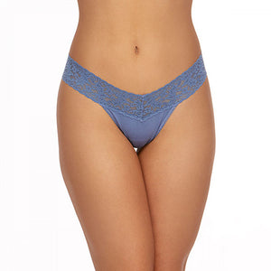 Hanky Panky Cotton Low Rise Thong with Lace 891581