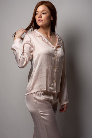 Loungerie PJ Satin Top with Ruffles LRPTS-PS