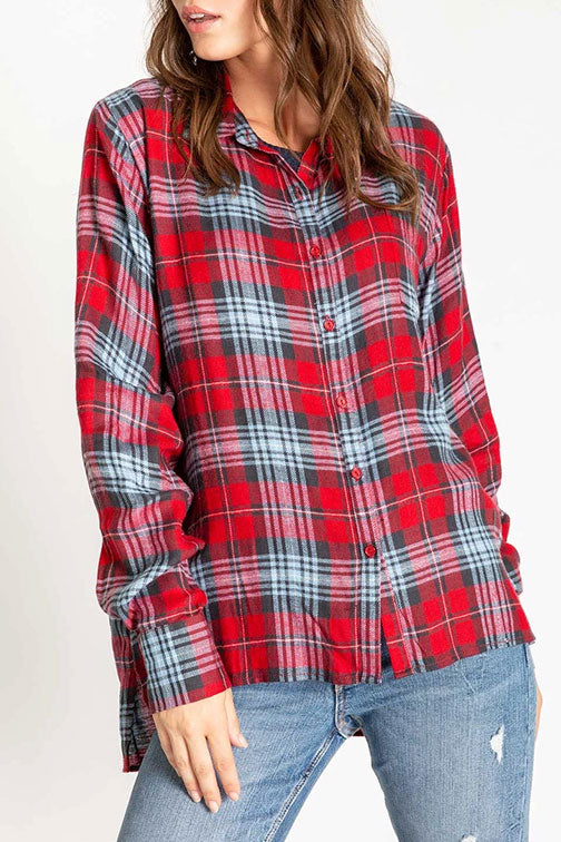 PJ Salvage Snowed In Plaid Long Sleeve Top RPSNLS2