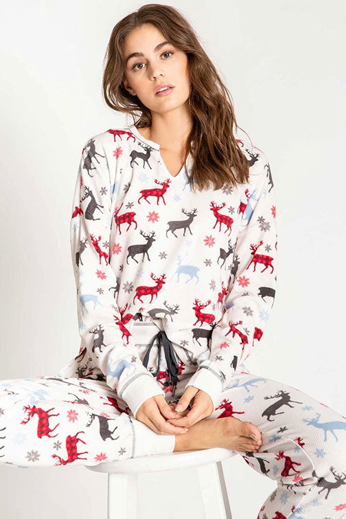 PJ Salvage Snowed In Thermal Reindeer Top RPSNLS3