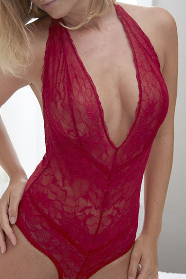 Samantha Chang All Lace Boudoir Deep Plunge Bodysuit SC446219