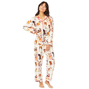The Cat's Pajamas Party Pups Flannel PJ Set 360-900-WH