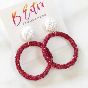 Red glitter hoop | white post