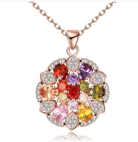 18kt Rose Gold Garnet Floral Necklace