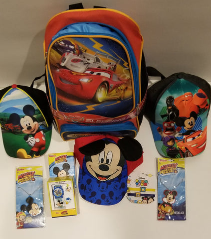 Cars Backpack & Sleeping Bag + 3 Mickey Mouse Hats & Accessories