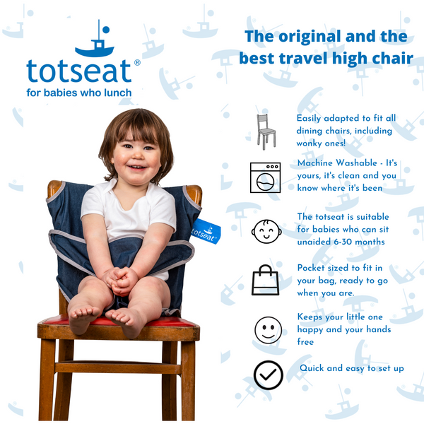 totseat Classic Denim - the original portable travel high chair