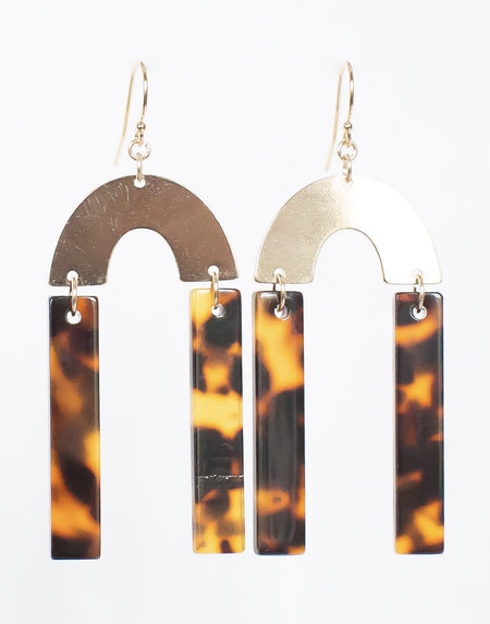 Geometric Tortoise Bar Earrings