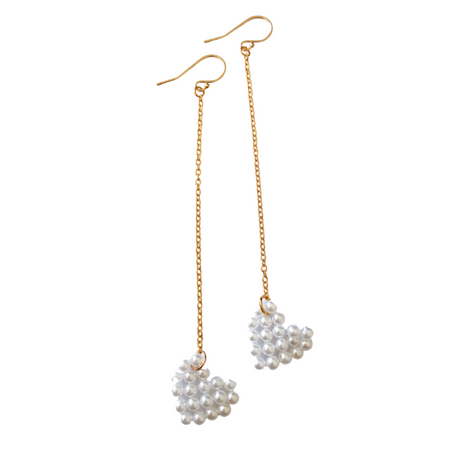 PEARL HEART DANGLES