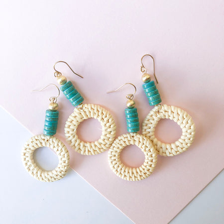 Piper Earrings- Turquoise Heishi