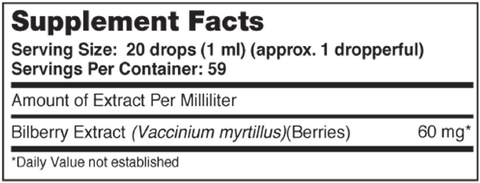 Pure Liquid™ Bilberry 2 oz Supplement Facts