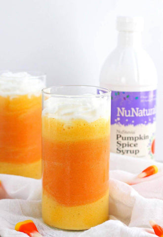 Vegan Candy Corn Smoothie with NuNaturals Pumpkin Spice Stevia-Sweetened Syrup