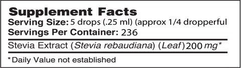 Alcohol Free NuSteviaå¨ Stevia Extract Glass Bottle 2 oz Supplement Facts