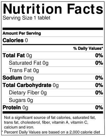 NuStevia® Quick Dissolve Tabs Stevia Extract Nutrition Facts
