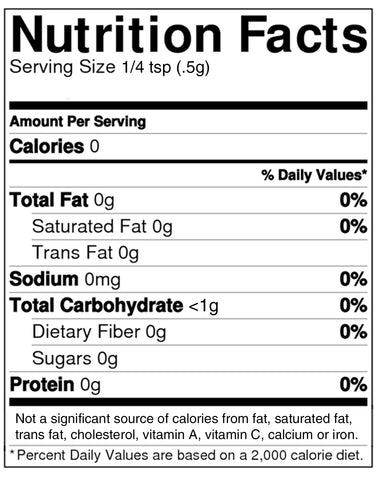 NuStevia® White Stevia Powder™ Stevia Extract Nutrition Facts