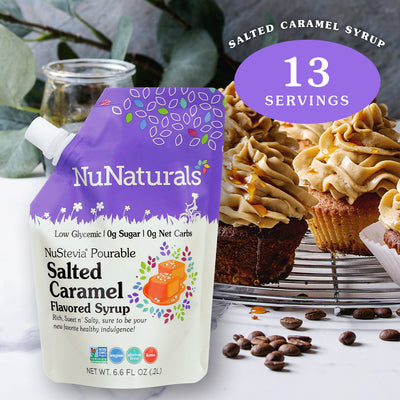 6.6 oz. NuNaturals Salted Caramel Flavored Stevia Syrup with frosted cupcakes and a syrup drizzle
