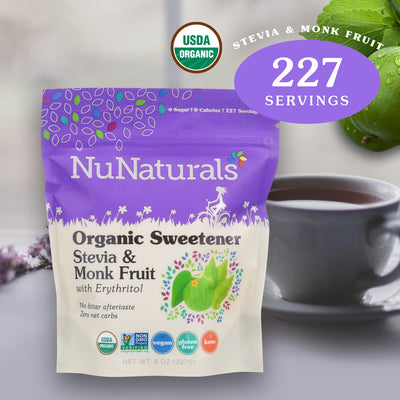 8 oz. NuNaturals Organic Sweetener Stevia & Monk Fruit