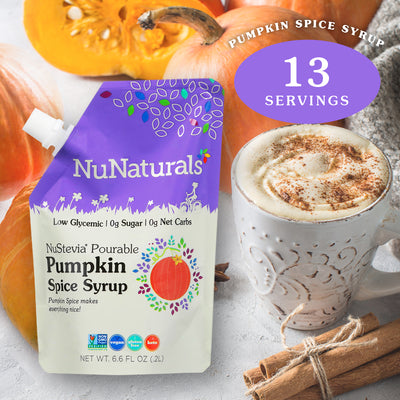 6.6 oz. NuNaturals Pumpkin Spice Stevia Syrup next to a pumkin spice latte, cinnamon sticks, and pumpkins