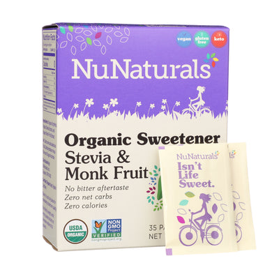 NuNaturals Organic Sweetener Stevia & Monk Fruit Packets