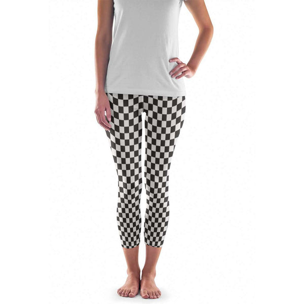 Black and White Checkered Leggings and Yoga Shorts
