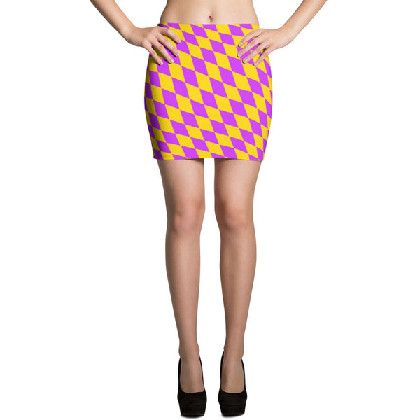 Mardi Gras Skirt - Diamond Checkered Mardi Gras Mini Skirt - Mardi Gras Costume