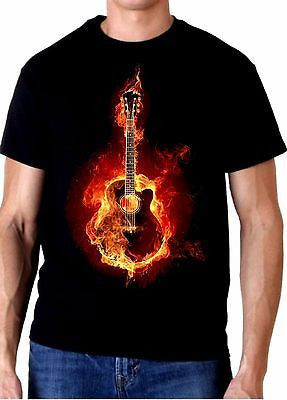 "Acoustic ""Fire"" Guitar T Shirt 100% Cotton Tee by BMF Apparel"