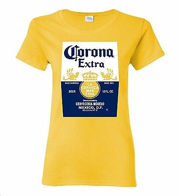 Corona Bottle Women's Yellow T-Shirt 100% Cotton Tee by BMF Apparel