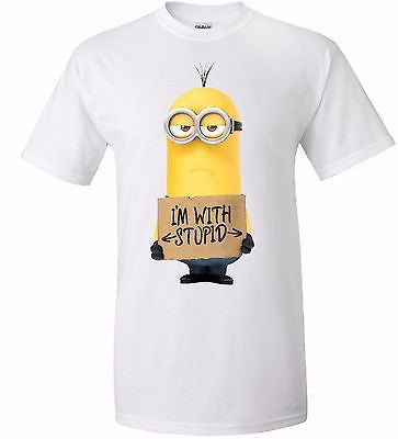 Stupid T Shirts >> Minion I M With Stupid T Shirt 100 Cotton Tee By Bmf Apparel