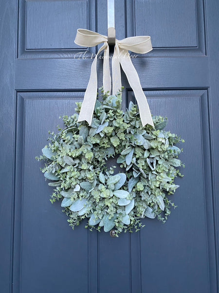 Farmhouse wreath - boxwood and Lambs ear wreath