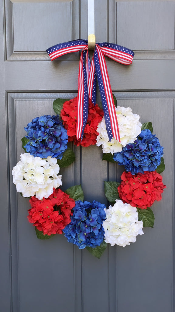 Hydrangea wreath- Memorial Day wreath- patriotic wreath