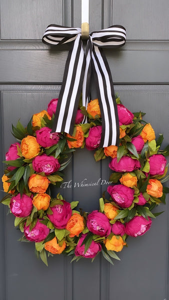 Peony wreath - summer wreath - tangerine dreams