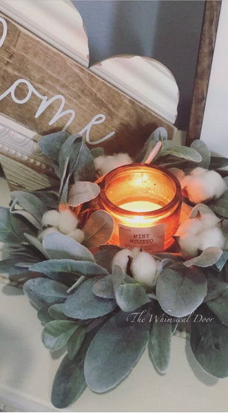Lambs ear cotton candle ring