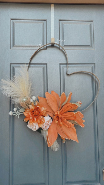 Wine barrel heart wreath - boho wreath