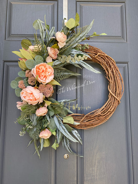 Spring wreath- Cabbage rose and peony wreath