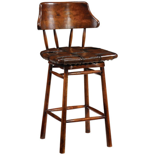 Country Style Walnut Leather Counter Stool - Benton and Buckley
