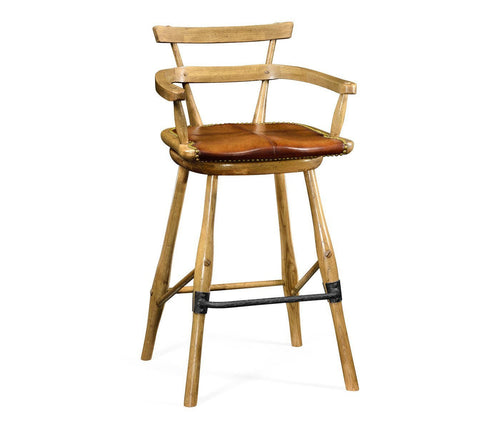 Natural oak barstool with studded leather seat - Benton and Buckley