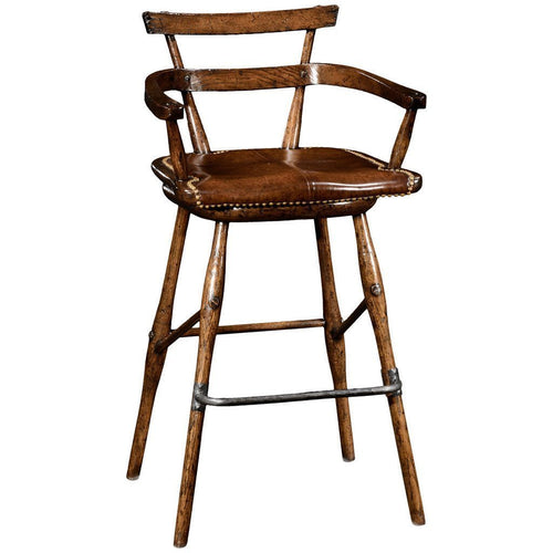 Oak Studded Leather Seat Arm Barstool - Benton and Buckley