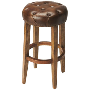 Gallatin Round Leather Bar Stool - Benton and Buckley