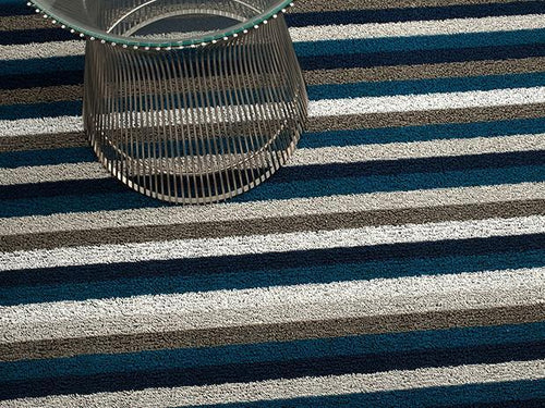Even Stripe Indoor/Outdoor Mat | Marine - Benton and Buckley