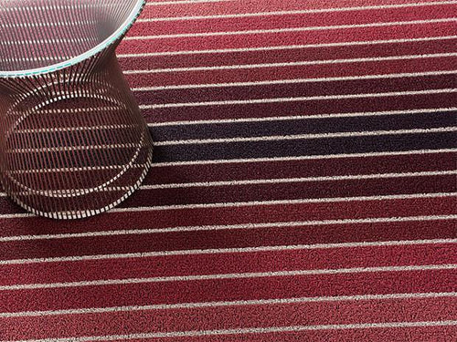 Block Stripe Indoor/Outdoor Mat | Cranberry - Benton and Buckley